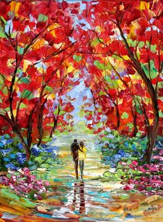 Custom Original Oil Painting Commission - Romance Landscape - impressionistic fine art by Karen Tarlton. $135.00, via Etsy.