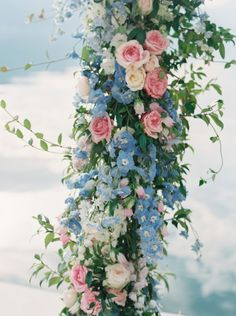 Love this combo of pink + blue flowers for a wedding reception.