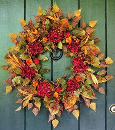Autumn Fire - Hydrangea, Lantern and Berry Wreath, Fall Wreath,Hydrangea Wreath, Harvest Wreath, Autumn Wreath, Autumn Decor