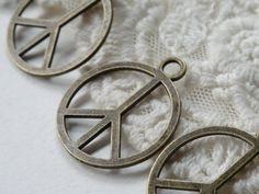 4- Peace Sign Charm Lucky Hippie 1960's Large Bronze Vintage Stye Simple Flat Make Love Not War Vintage Style Free People Pendant Inv0093 by BuyDiy on Etsy