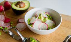 Avocado, radish, and sweet pea salad