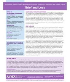 Grief and Loss - resources from the American Occupational Therapy Association