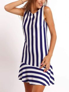 SheIn offers Navy White Crew Neck Vertical Stripe Dress & more to fit your fashionable needs. Simple Dresses, Cute Dresses, Casual Dresses, Short Dresses, Fashion Dresses, Vertical Striped Dress, Latest Dress, Dress Patterns, African Fashion