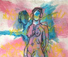 Jasmine Cederqvist Titel: Min ängel flyger alltid bredvid blandteknik på akvarellpapper 20*15cm 800kr