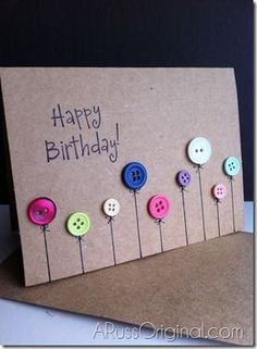 diy birthday cards Happy Birthday Button Card - 17 DIY Card Ideas For Birthday Birthday Cards Homemade Birthday Cards, Homemade Cards, Tarjetas Diy, Button Cards, Bday Cards, Cute Cards, Cards Diy, Creative Cards, Creative Ideas
