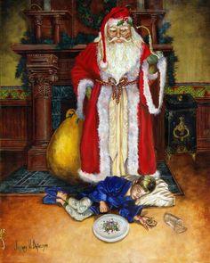 Christmas Paintings - Santas Littlest Helper by Jeff Brimley Santa Paintings, Christmas Paintings, Paintings For Sale, Christmas Scenes, Christmas Art, Father Christmas, Christmas Stocking, Christmas Cookies, Vintage Christmas