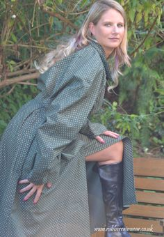 Caroline in a beautiful rubberised polka-dot mackintosh from Hamilton Classics. Rain Fashion, Rubber Raincoats, Rain Gear, Get Dressed, Latex, Rain Cape, Dress Up, Women Wear, Lurcher