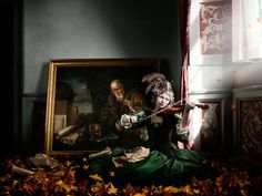 Alexia Sinclair's Breathtaking Photo Shoot in a 350-Year-Old Frozen Castle #photography #leaves #violin #mansion