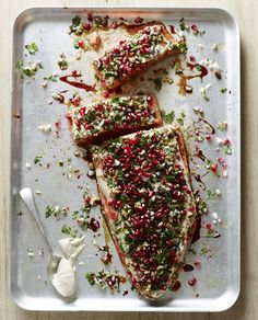 Salmon with Pomegranate and Herbs - Pete Evans paleo dinner fish Middle Eastern Dishes, Middle Eastern Recipes, Salmon Recipes, Seafood Recipes, Seafood Meals, Seafood Salad, Seafood Dishes, Fish Recipes, Sesame Seed Dressing