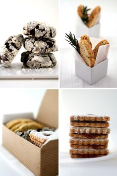"""Raspberry linzer cookies, rosemary and parmesan biscotti and chocolate crinkle cookies from Anita Chu's """"Field Guide to Cookies"""""""
