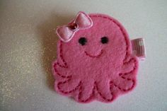 Boutique Embroidered Felt Octopus Hair Clip Item by pachwilliamson, $3.00