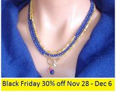 BLACK FRIDAY WEEK Sale: Ashira Yellow Welo Opal and Lapis Lazuli Gemstone Statement Necklace with Charms