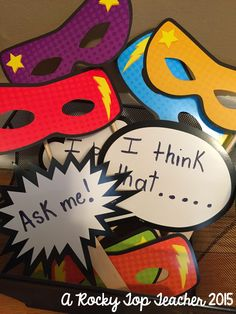 Superhero Classroom Decor- Mask and Speech-Thought Bubble Accents.