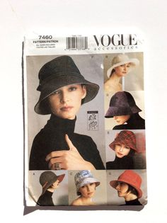 Vogue 7460 Women's Hat Pattern Millinary Pattern by DonnaDesigned