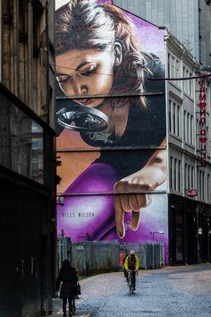 Street art on a 3-storey building in Glasgow, Scotland