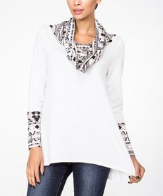 Love this White Tribal Cowl Neck Top - Women by LARA Fashion on #zulily! #zulilyfinds