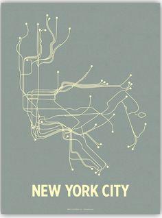 """New York Subway """"T"""" Poster City Transit LinePosters par Paper Crave Artiste passioné par le graphisme des plans de métro à New York. Il explique qu'il dessine souvent dans le métro, et a été inspiré pour faire une série d'affiches. Il s'intéresse au fonctionnement et à l'organisation de la carte."""