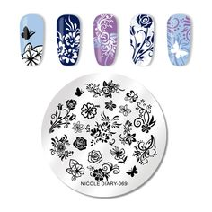 After stamping plates nail art, apply top coat for lasting wear. Apply the nail polish to desired image within a plate. Stamp the image on your nail with a gentle rolling motion. The image is transferred on your nail. Home Design, Nail Art Stencils, Nail Stamper, Nail Art Stamping Plates, Nail Art Images, Stainless Steel Nails, Image Plate, Pretty Nail Art, Art Template