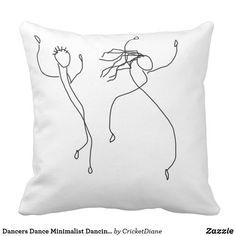 Minimal Home Accessories Black White - Dancers Dance Minimalist Dancing Black White Artsy Throw Pillow. Minimalist Pillows, Minimalist Poster, Minimalist Art, Copper Home Accessories, Dancing Drawings, Home Decor Vases, White Wall Art, Minimal Home, Shabby Chic Decor