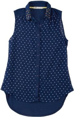 Jolt Polka Dot Studded Collar Sleeveless Top NAVY Large Juniors - From Jolt, this sleeveless top features studded point collars, polka dot print on the front and a hi-low hem. Cotton.