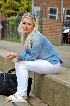 H&M denim shirt, white Topshop busted knee jeans, White birkenstocks