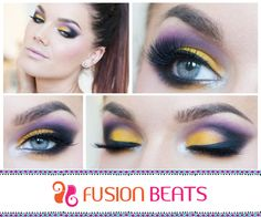 Yellow and purple is an eye popping combination. Go ahead and try this gorgeous eye make up. #Truckart #FreeSpirit #SS15