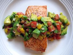 Poached Salmon with Avocado Corn Salsa (avocado, corn, red onion, cilantro, lime juice, optional jalapeno)