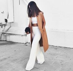 camel jacket flare jeans & white crop top