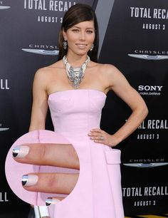 These nails on Jessica Biel are stunning and match her jewelry perfectly! Jessica Biel, Love Nails, Fun Nails, Strapless Dress Formal, Formal Dresses, Date Night Dresses, Work Attire, Beauty Nails, Star Fashion