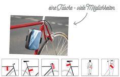 Die in Berlin gefertigte Tasche ist ein herrliches Upcycling Produkt, das es dem Biker auf nicht peinliche Weise ermöglicht, wichtiges Zeugs stilsicher zu transportieren. Magazine Rack, Biker, Berlin, Storage, Furniture, Home Decor, Guys, Repurpose, Dime Bags
