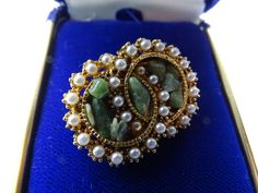 Double circle brooch. faux jade and seed pearls marked exquisite by ElviesAdornments