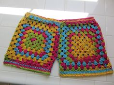 Granny Square Crochet Shorts by Knit2Create on Etsy, $50.00
