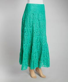 Another great find on #zulily! Green Tiered Floral Mesh Maxi Skirt by IRE #zulilyfinds