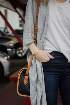sweater, purs, cardi, casual styles, street styles, fall outfits, casual looks, bags, style fashion