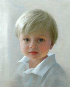 """Petite portrait"" of a boy in oil by a Portraits, Inc. artist"