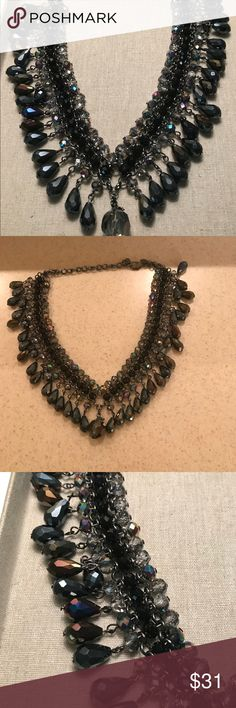 Mixed stone necklace Has tones of dark grey, purple, black..... very sparkly sits close to the neck... never worn perfect condition Chico's Jewelry Necklaces
