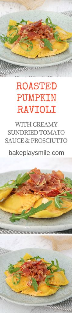 This Homemade Roasted Pumpkin Ravioli with Creamy Sun-Dried Tomato Sauce & Crispy Prosciutto is the perfect family dinner! Make your own pasta dough from scratch or use store-bought fresh pasta sheets. It's so delicious!  #homemade #pasta #ravioli #pumpkin #prosciutto #creamy #recipe #easy #thermomix #conventional #family #dinner #meals