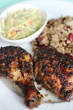 Oven Roasted Jerk Chicken Jamaican Jerk Chicken with Rice n Peas and Coleslaw by The Sweet Escape Jamaican Cuisine, Jamaican Dishes, Jamaican Recipes, Rice And Peas Jamaican, Haitian Food Recipes, Jerk Chicken Recipe Oven, Jamacian Jerk Chicken, Jerk Chicken Marinade, Meat Recipes