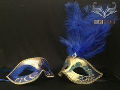 Fifty shades of Grey Couple Masquerade mask Pair Royal Blue Gold – Masquerade Mask Studio Couples Masquerade Masks, Gold Masquerade Mask, Royal Blue And Gold, Blue Gold, Jester Mask, Blue Mask, Gold Diy, Fifty Shades Of Grey, Diy Mask