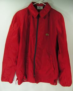 vintage lacoste jacket mens large red wind breaker by moivintage, $39.99