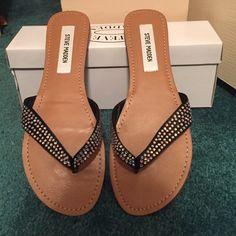 Flip flops Steve Madden rhinestone flip flops never worn! Steve Madden Shoes Sandals