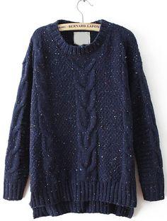 Navy Cable Knitting Rib Hem High Low Sweater 25.33