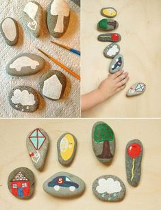 manualidades con niños cuento piedra2 Manualidad con niños: crear un Cuento piedra Stone Crafts, Rock Crafts, Fun Crafts, Arts And Crafts, Bracelets Rainbow Loom, Diy For Kids, Crafts For Kids, Seasons Activities, Story Stones