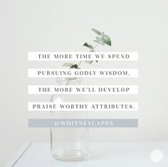 The more time we spend pursuing Godly wisdom the more we'll develop praise worthy attributes.