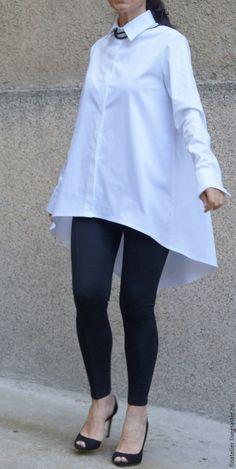 Купить Повседневная белая рубашка/Ассиметричная рубашка/F1496 - белый, рубашка, модная рубашка, верхняя одежда