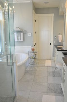 Perfect sized shower, wonderful soaking tub, dual sinks, make up counter...what's not to love?