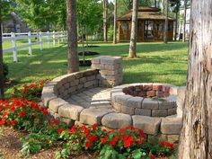 fire pit to build with retaining wall on backside. #firepit #backyardoasis