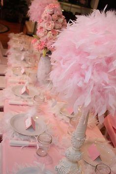 SHABBY CHIC: Décor - Feather Boa Balls on Distressed Wood Candle Sticks.