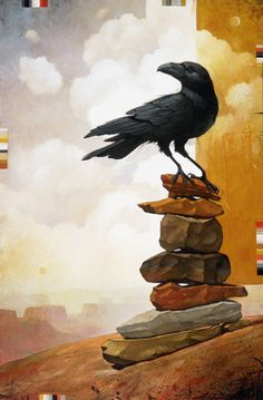 """I Absolutely LOVE this Painting, Corvid on a Cairn, or Obos, being Guided by an Inner Light.  Craig Kosak Paintings - """"Third Guide"""""""