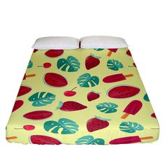Watermelons, fruits and ice cream, pastel colors, at yellow Fitted Sheet (California King Size) Watermelon Fruit, Bed Sizes, California King, Pastel Colors, King Size, Creative Design, Duvet Covers, Pillow Cases, Bedding
